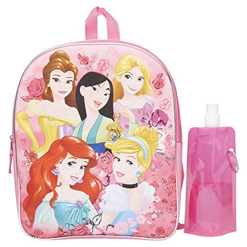 Disney Princess Backpack Combo Set - Cinderella, Ariel, Belle 3 Piece Backpack Set - Backpack, Water Bottle and Carabina (Princess)