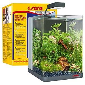 sera-Biotop-Nano-LED-Cube-16l-ein-Aquarium-Komplettset-Plug-Play-aus-gebogenem-Glas-mit-LED-Beleuchtung-groem-3-Kammer-Innenfilter-fr-Garnelen-Krebse-und-Kampffisch-Mae-BxHxT-22x30x25cm