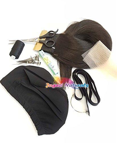 Une simple kit de perruque complet. Série Noir/marron. extension de cheveux raides. Dome Cap. Kaycee Lot. courbé Aiguille. Bande élastique. fils de tissage.