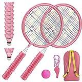 Raquetas Badminton Niños Raquetero Tenis Racket Raqueta de Juguete Deportivo Bádminton Playa al Aire Libre (2 Rosas)