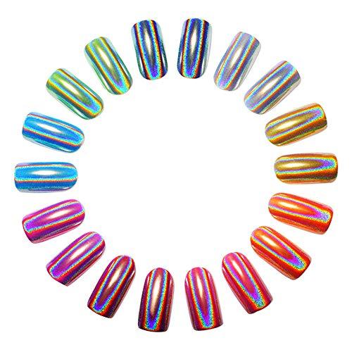 WFZ17 Nagelpuder, ultradünn, mehrfarbig, holografisch, Spiegeleffekt, Nagelkunst Pulver, Chrom-Pigment