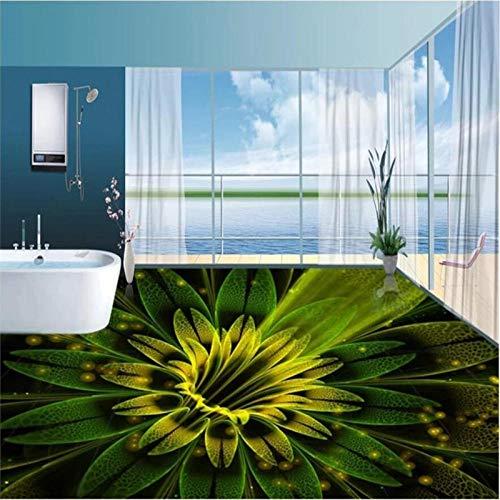 Piso personalizado papel tapiz 3d fantasía abstracta hermosas flores piso 3d azulejo pintura gruesa que usa revestimiento de baño resistente 150x105cm