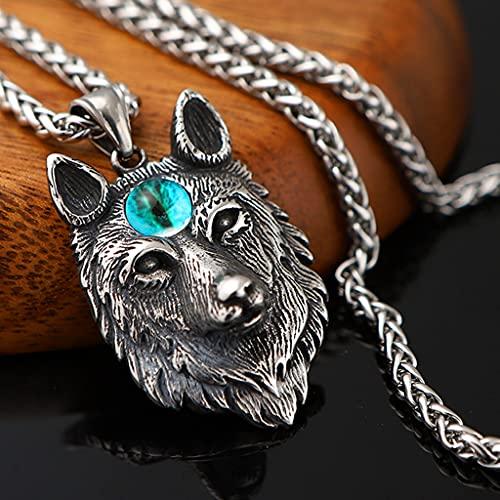 Collar con Colgante de Cabeza Lobo Tres Ojos Acero Inoxidable para Hombre Joyería Amuleto Nórdico Celta Vikingo Fenrir Cadena Serpiente 4 mm,Blue Eye,70cm Chain