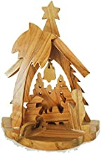 Zuluf Small Hand Carved Olive Wood Nativity Set With Bell Religious Gift NAT031