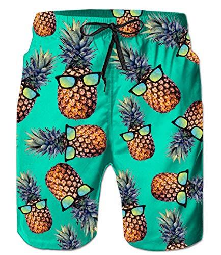 RAISEVERN Hommes Hawaïen Chemise/Shorts T-Shirts À Manches Courtes Casual Plage Pantalons Outfits Vacances Usure Boutons Hawaii Aloha Vêtements S-XXXL, Green Pineapple-p, 3XL