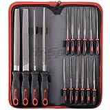 Hi-Spec All-In-One 16-teiliges Carbon-Stahl-Feilen-Set mit 4 x 200mm Feile flach, halbrund, rund, dreieckig 8 x 140mm Nadelfeile in Transport-Case