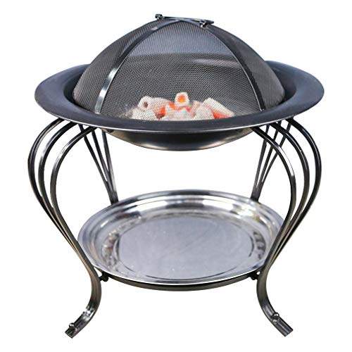 Outdoor fire Pit, Garden Charcoal Grill, Picnic Bonfire Brazier,with Grill and Dust Cover,Apply to Patio,Camping,Square and get Together