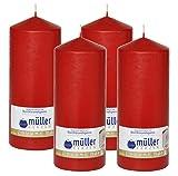 4 Gastro - Stumpenkerzen 200 x 80, Rot - Karminrot, selbstverlöschende Sicherheits - Stumpenkerzen, Weihnachtskerzen