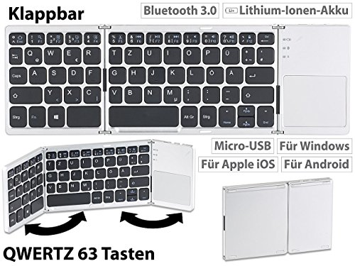 GeneralKeys Klapp Tastatur: Faltbare Tastatur mit Bluetooth, Touchpad für Android, iOS und Windows (Falttastatur Bluetooth)