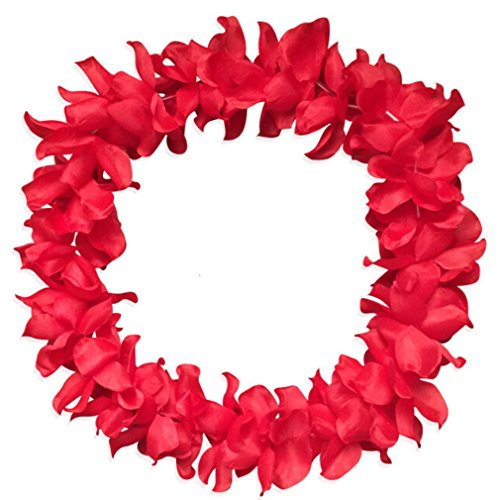 ODN Blumenketten Hawaiiketten Bunt Flower Halsketten Blütenketten for Hawaii Party (Rot)