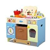 Kids Wooden Kitchen Pretend Play Bear Set Children Toy Cooking Cookware Storage