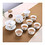 Without 9 stücke Chinesische Tee Set Gaiwan Blaue und weiße Porzellan Kung Fu Tee Set Keramik Tee...