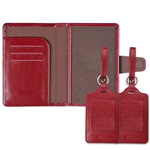 ネームタグとパスポートケース 紛失防止 スーツケースタグ 出張用タグ ネームタグ 番号札 バッグ用ネームタグ レザー 旅行タグ トラベル用 海外旅行 旅行小物(赤 1つパスポートケースと2つネームタグ)