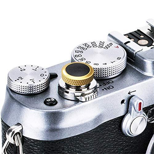 JJC Soft Camera Shutter Release Button Cap for Fuji Fujifilm X-T4 X-T3 X-T2 X-T30 X-T20 X-T10 X-Pro3 X-Pro2 X-Pro1 X100V X100F X100T X100S X-E3 for Sony RX10 IV III II RX1RII RX1R RX1 / Golden Black