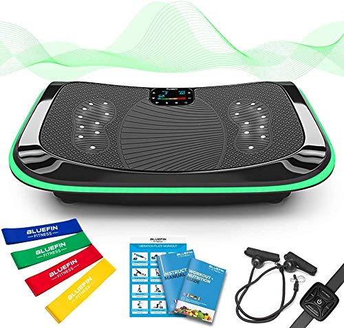 Bluefin Fitness 4D Vibrationsplatte mit 3 leisen Motoren | Magnetfeldtherapie Massage | Ergonomisches Design | 4.0 Bluetooth Lautsprecher | Vibration, Oszillation und Mikrovibration