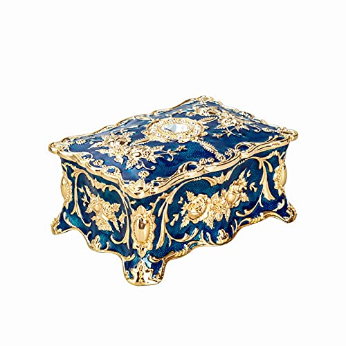 Feyarl Tiny Vintage Rectangle Blue Tiny Trinket Box Jewelry Box Treasure Chest Ornate Antique Finish Engraved Organizer Box Wedding Christmas Birthday Gift Dresser Deco(Small) 3.5 x 2.3 x 1.57 inches