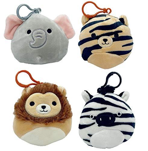 "Squishmallow Kellytoy Jungle Animal (Set 4 )Lion Tiger Zebra Elephant 3.5"" Clip Ons Keychain"