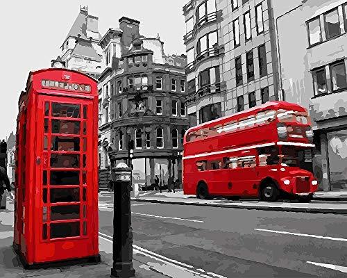 N\A Manualidades para Pintar Pintura por Numeros Adultos Niños - Vista De La Calle De La Cabina De Teléfono Roja De Londres - DIY Cuadro Lienzo Pintura Al Óleo