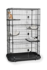"""Paw friendly design - No gaps or pinch points Heavy duty, rust-resistant construction Two extra large hammocks and two lock-in platforms included Exceptional engineering makes this cat cage easy to assemble 43 1/4"""" Long, 25 1/4"""" Wide, 65 3/4"""" High - ..."""
