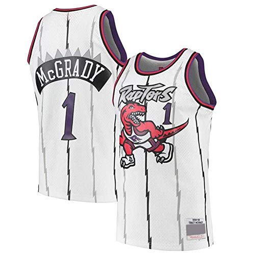 Camisetas De Baloncesto para Hombre, Toronto Raptors # 1 McGrady Jersey Camiseta De Baloncesto Transpirable Camiseta De Uniforme Sin Mangas De Baloncesto Retro,Blanco,M