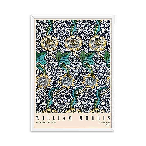 Póster de exposición de Victoria de grabado de William Morris, estilo de arte subterráneo de Londres, lienzo sin marco familiar, pintura A9 20x30cm