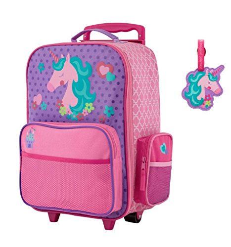 Stephen Joseph Rolling Luggage and Name Tag Set-Unicorn