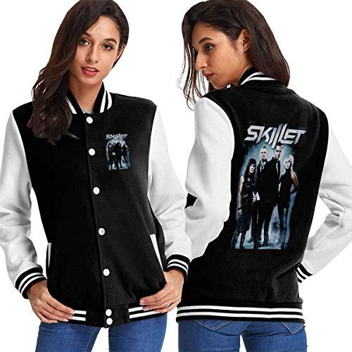 BAQQC Damen Jacken, Mäntel, Sportbekleidung, Skillet Band Women's Varsity Baseball Hoodie Jacket Outerwear Coat
