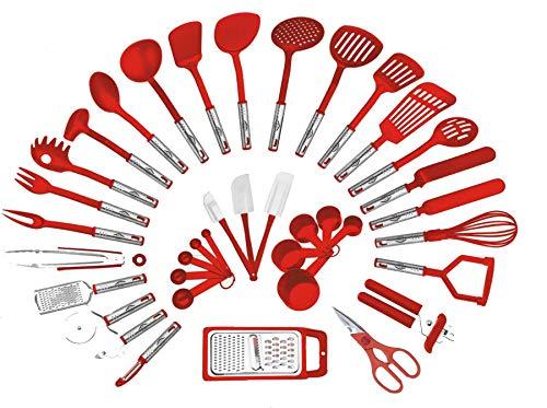 Preferred Housewares International Utensili da cucina da 38 pezzi Set Utensili da cucina per la casa Forbici Pinze Spatole Tagliapasta Frullino, grattugie Pelapatate, Apriscatole (Rosso)