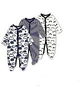 Baby Footed Pajamas Sleeper 3 Packs Infant Girls Boys Cotton Long Sleeve Jumpsuit Newborn Sleepwear Romper Bodysuit Cloud+Stripe+Moustache