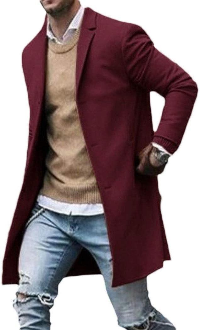 xzbailisha Men Trench Coat Wool Slim Fit Lapel Collar Overcoat Single Breasted Long Pea Coat Jacket