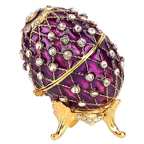 Yivibe Caja de Huevos de Pascua esmaltada, diseño de Huevos de Pascua, joyero, patrón Hermoso, Colores delicados y Elegantes, Suaves y Ricos, para joyero Organizador de Cocina