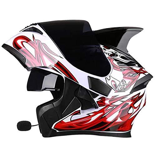 ZLYJ Bluetooth Integrado Casco De Motocicleta Abatible hacia Arriba, Casco Modular De Motocross Adultos con Antivaho Doble Visera, Micrófono Altavoz Incorporado, Certificación ECE D,XL