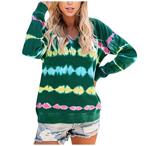 For Sale! AHUIGOYCE Women Fashion Tie-dye Hooded Loose Long Sleeves Tops Blouse Sweatshirt Sweaters Green