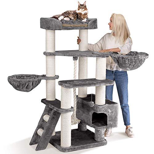 Happypet® Kratzbaum Grosse Katzen stabil XXL Kletterbaum | 156 cm hoch | 47 kg Premium Qualität | 12 cm Dicke Sisalstämme | Höhle, Liegemulde | geprüfte E1 Holzplatten schwere Katzen Main Coon | GRAU