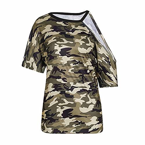 Damenblusen, Elegante Tunika-Oberteile mit Bluse, Schulterfreies langes T-Shirt für Frauen, kurzärmlige Tarnoberteile für Frauen mit O-Ausschnitt, Sommer-Tunika-Pullover, lockeres Oberteil