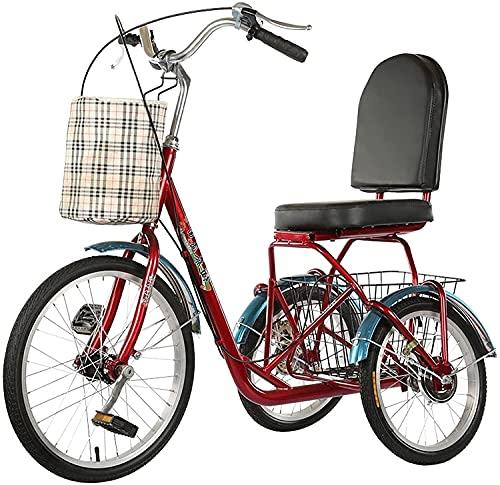 XBR Neu Erwachsene 3 Rad Dreirad - Trike Cruiser Fahrrad, Dreirad für Erwachsene, 1 Gang 3 Rad Liegerad mit Vorne Hinten Großer Korb Senioren Für Herren Damen Picknicks & Einkaufen