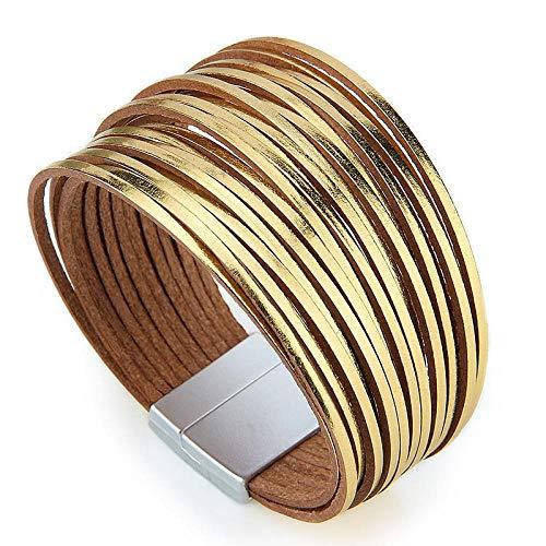 N/A Pulsera de Moda Multicapa Wrap Pulseras de Cuero para Mujeres Cierres magnéticos Mujeres Pulsera Brazalete Brazalete joyería Regalos Pulseras Mujer Oro
