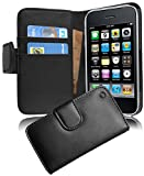 Cadorabo Coque pour Apple iPhone 3 / 3S / 3GS Noir DE Jais Housse de Protection Etui Portefeuille Case Cover pour iPhone 3 / 3S / 3GS – Stand Horizontal et Fente pour Carte