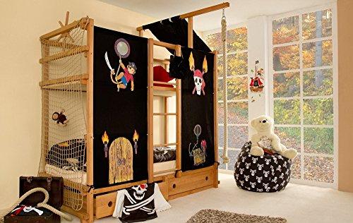 lifestyle4living Hochbett für Kinder in Braun/Schwarz, mit Vorhang, Seil, Dach und Steuerrad im Piraten Stil | Spielbett aus Buche Massivholz, Liegefläche 90x200 cm