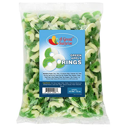 Gummy Candy - Gummi Sour Apple Rings - Gummy Rings Green Apple - Green-White Gummies - Green Candy - Bulk Candy 4.5 LB
