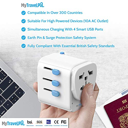MyTravelPal™ Worldwide Universal 10A Travel Adapter - The Most Powerful & Safest All In One Earthed International Wall Charger - 4 USB Ports - USA EU UK AUS - Suitable For High Powered Devices