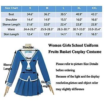 Japanese School Girls Uniform Sailor Dress Shirts Fruits Basket Anime Cosplay Costumes for Women  XXL  Blue