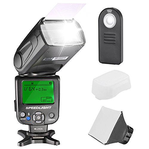 Neewer NW620 Kit Flash Speedlite Manual para Cámaras DSLR Canon Nikon Sony Pentax, Incluye: (1) Flash NW620 GN58, (1) Difusor Suave / Duro, (1) Control Remoto 4 en 1