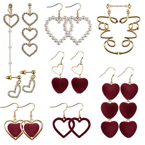 TUPARKA 8 pares de amor pendientes de corazón Pendientes de botón en forma de corazón Regalos de San Valentín para mujeres niñas