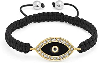 Black Evil Eye Braided Cord Bracelet for Women for Teen CZ Accent Adjustable Gold Plated for Protection and Good Luck