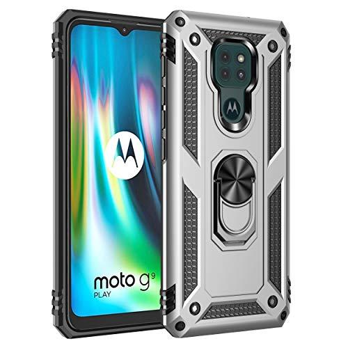 BestST Funda para Motorola Moto G9 Play/Moto E7 Plus/G9,Elegante Armadura híbrida Robusta Funda de Doble Capa de Alta Resistencia para PC Duro Caso con HD Protector de Pantalla,-Plata
