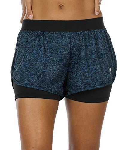 icyzone Femme 2 en 1 Short de Sport - Yoga Fitness Short Jogging Pantalon Court en Plein air Respirant Mesh (M, Royal Blue)