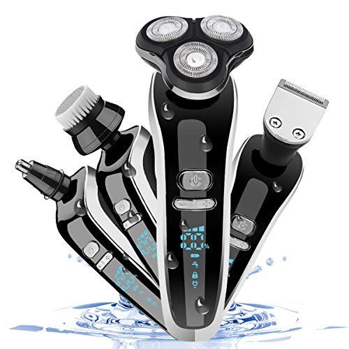 Maquina de Afeitar, 4 en 1 Afeitadora Electrica Hombre Recargable con LED Display Recortadora Barba Nariz Afeitadora Rotativa Impermeable Uso en Húmedo y Seco (S)