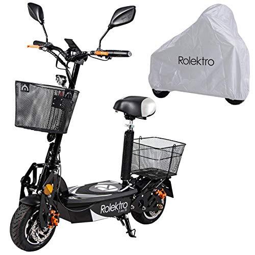 Rolektro E-Joy 20 Faltbarer Elektroroller - 20 km/h E-Roller mit Sitz 500W E-Scooter für Erwachsene mit EU-Zulassung inkl. Abdeckplane