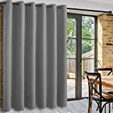 DWCN Total Privacy Room Divider Blackout Curtain - Thermal Curtains for Patio Door, Living Room, Bedroom Partition and Shared Office Space, 1 Grommet Curtain Panel, 8.3ft Wide x 9ft Tall, Light Grey